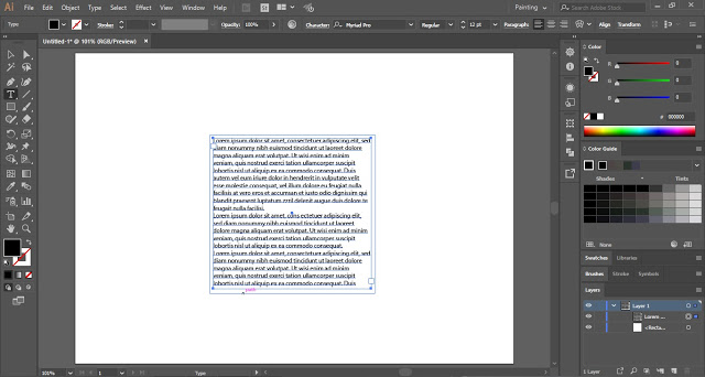 Create paragraph type box inside the square