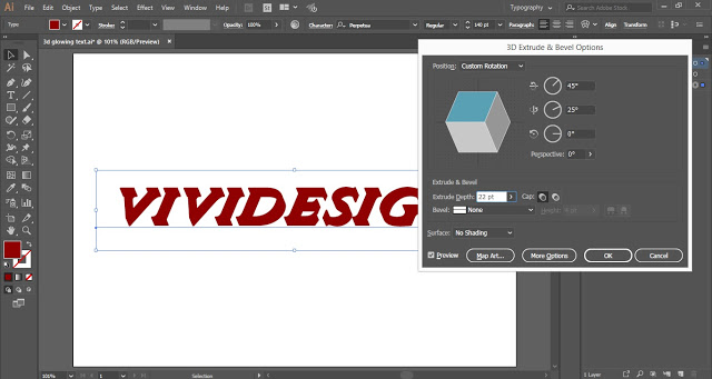 3D Extrude and Bevel Options Dialogue box