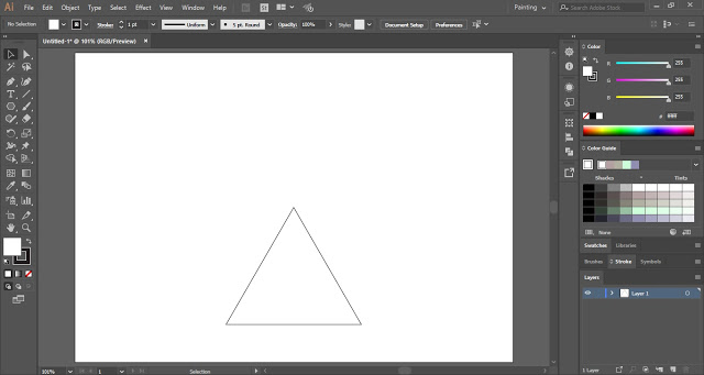 Draw a triangle with the help of Polygon Tool