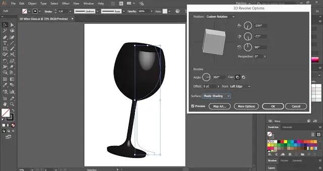 3D Wine Glass in Adobe Illustrator