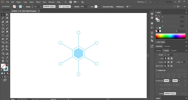 Draw small circles to add details to your snowflakes