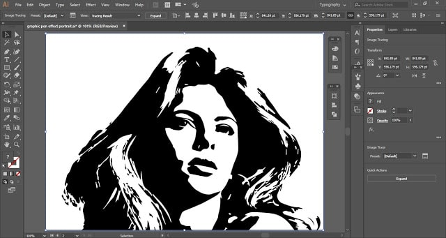 Graphic Pen Effect Portrait in Adobe Illustrator