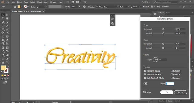 Golden Text Effect in Adobe Illustrator