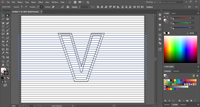 How to make Line Distort Text Effect in Adobe illustrator?