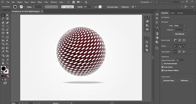 Spherical Tesseract Shape in Adobe Illustrator