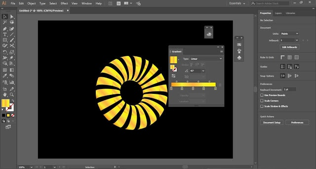 Striped 3D Shape in Adobe Illustrator