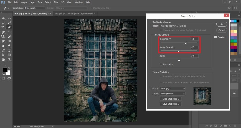 set Luminance and Color Intensity