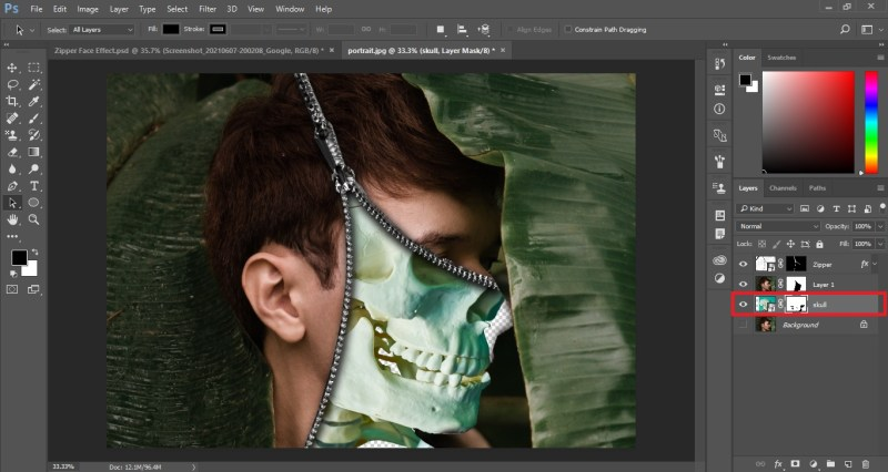 Create a Layer Mask for Skull image