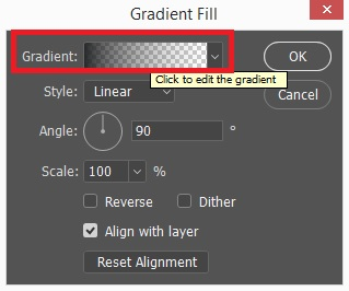 Gradient Fill dialogue box