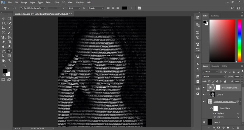 Create Portrait from Text in Photoshop