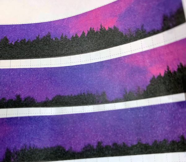 Forest Sky Washi | Galaxy Washi, Pink and Purple Galaxy, Trees, Silhouettes, Border Washi, Night Sky, Stars