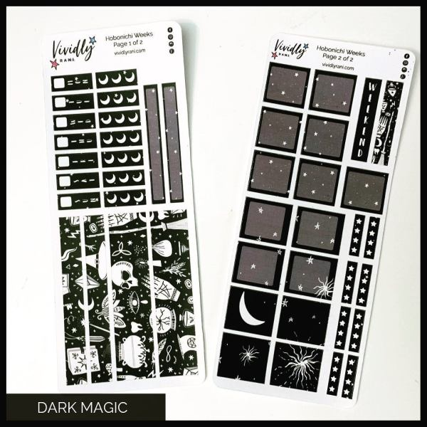Dark Magic Hobonichi Techo Weeks Weekly Kit | Hobonichi, Sticker Kit, Weeks Stickers, Weekly Kit, Weather Icons, Stars, Pagan, Halloween
