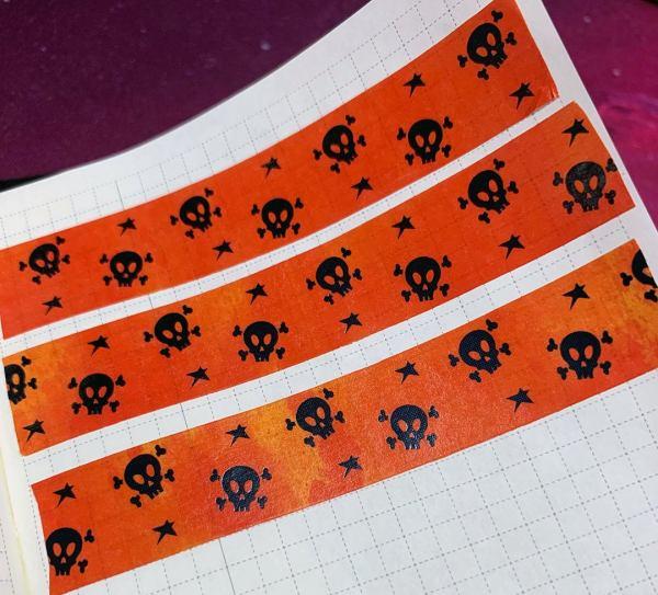 Jolly Roger Washi | Holographic Foil Washi, Halloween Washi, Skull and Cross Bones, Black Foil, Orange, Yellow, Black, Washi Tape, Samhain