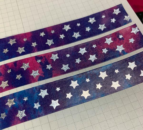 Star Watercolor Washi | Holographic Foil Washi, Galaxy Washi, Stars, Pixie Holographic Foil, Silver, Blue, Purple, Pink, Washi Tape, Stars