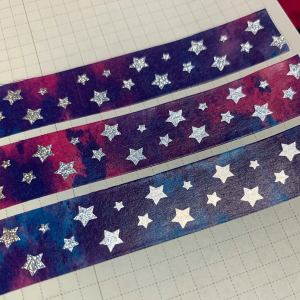 Star Watercolor Washi | Holographic Foil Washi, Galaxy Washi, Stars, Pixie Holographic Foil, Silver, Blue, Purple, Pink, Washi Tape, Stars
