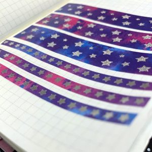 Star Watercolor Washi ADD ON 5MM | Holographic Foil Washi, Galaxy Washi, Stars, Silver Foil, Silver, Blue, Purple, Pink, Stars