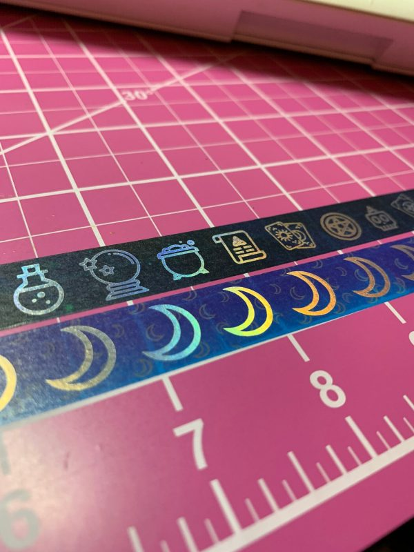 Aurora Moons and Witchy Winter, Washi Tape, Silver Holo Washi, Limited Edition, Purple, Teal