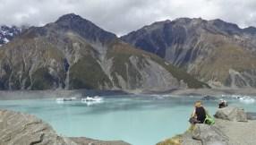 Tasman Lake at Mt Cook, with icebergs