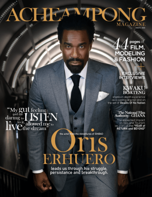 Hollywood Actor Oris Erhuero Stars The 2020 Front Page Of Acheampong Magazine