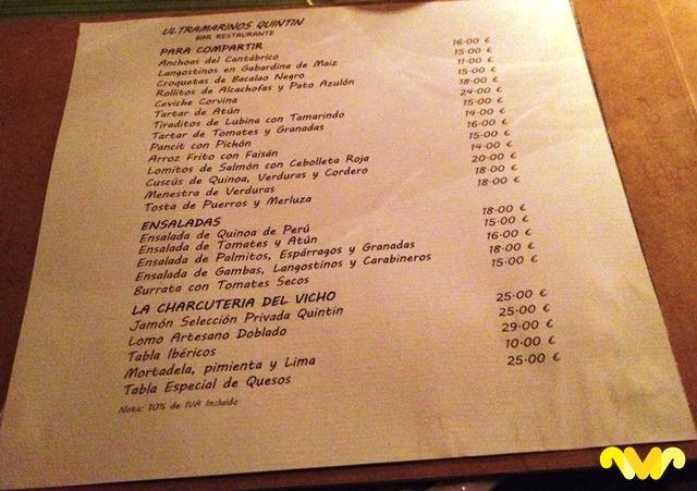 Carta de Invierno con los entrantes de Ultramarinos Quintín Bar-Restaurante. Madrid