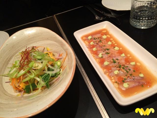 Ensalada Thai y Tiradito de himachi. Pink Monkey