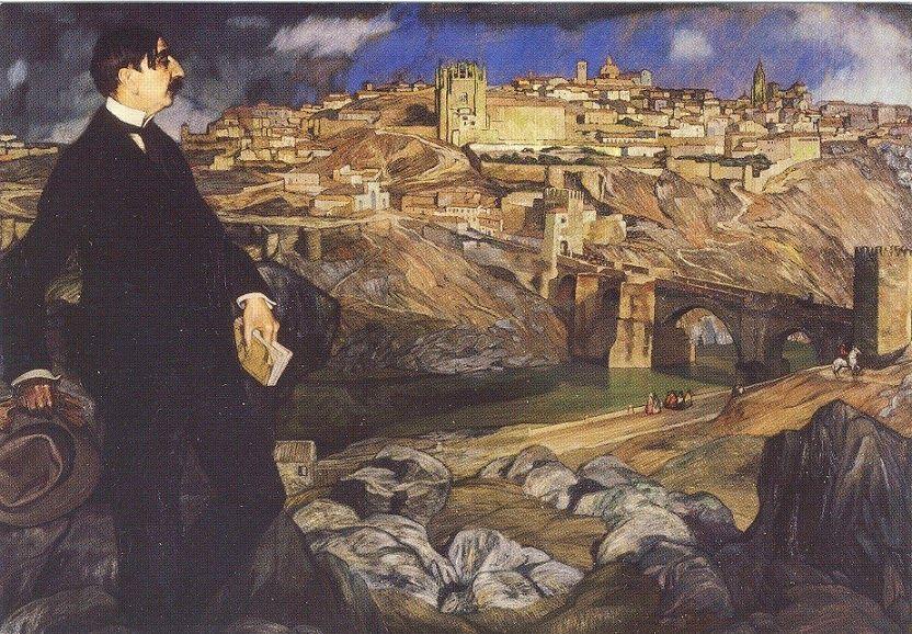 Zuloaga. Retrato de MauriceBarrèscon Toledoal fondo