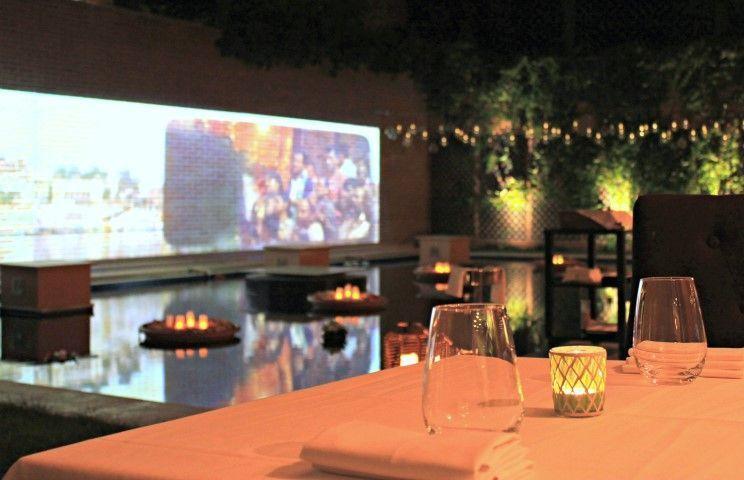 Terraza jardín del restaurante Benarés Madrid