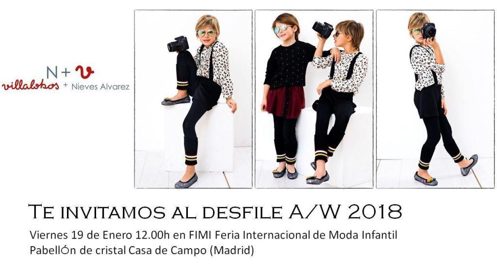 N+V, Villalobos + Nieves Alvarez. Invitación Desfile Moda Infantil. Otoño-Invierno 2018