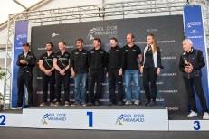 """L'équipage vainqueur de """"Ladycat powered by Spindrift racing"""". Le 78e Bol d'Or Mirabaud a sans surprise été remporté par un D35. Photo: Oreste Di Cristino"""