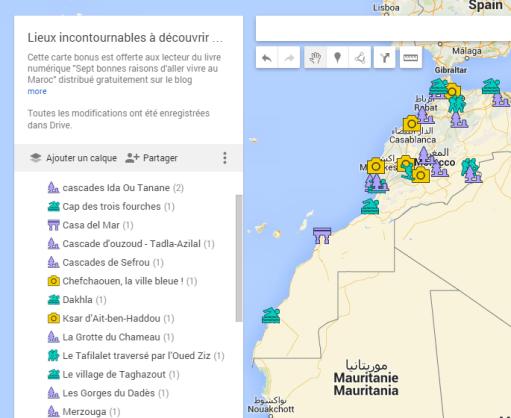 Carte maroc lieux endroits à découvrir et à visiter