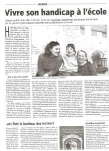 intégration scolaire en milieu ordinaire vivre le handicap