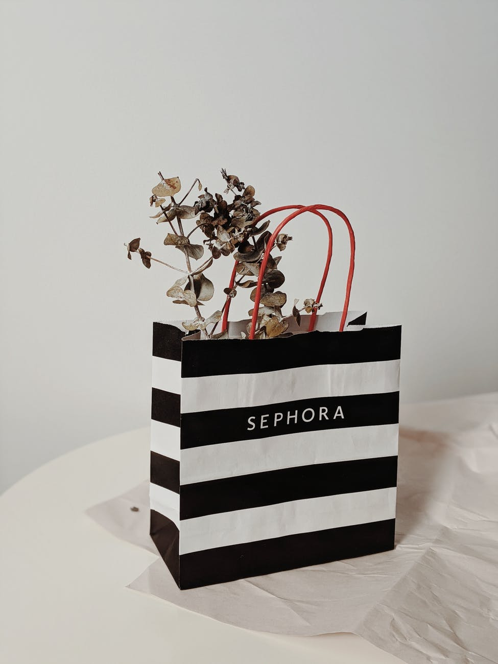 black and white stripe paper bag