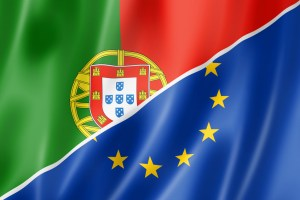 Mixed Portuguese and european Union flag, three dimensional render, illustration
