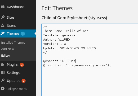 Edit Child Theme Files with the WordPress theme Editor