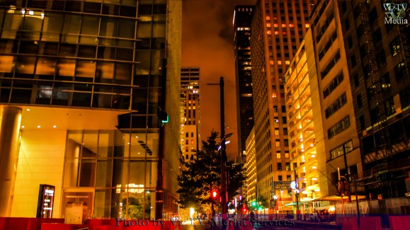 Nighttime photos of downtown Houston from Main St.