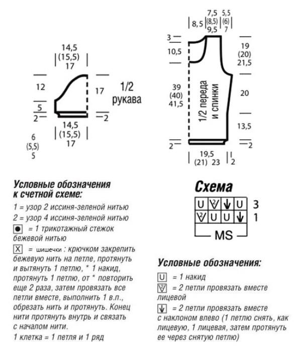 Выкройка,  схема ажурного узора и условные оозначения