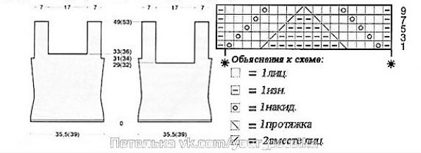 Выкройка топа и схема узора