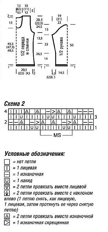Выкройка пуловера, схема 2 и условные обозначения