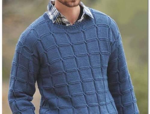 Мужской пуловер в рельефную клетку