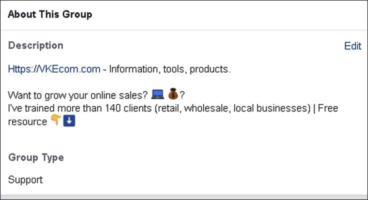 image show example facebook group description by viktoria kanevsky