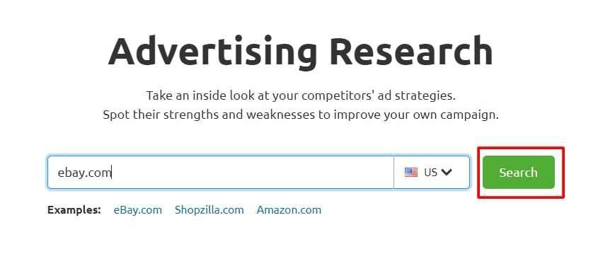 Advertising research search engine