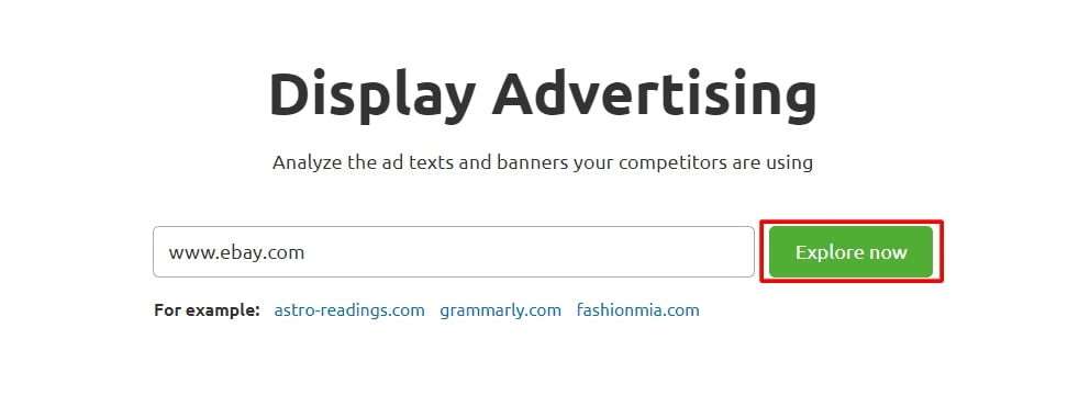 Display advertising search query