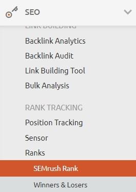 SEMrush ranking details