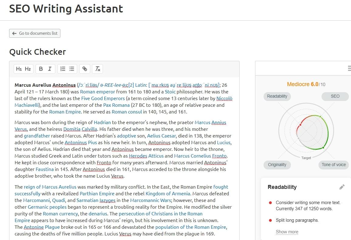 SEO writing assistant procedure