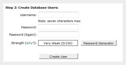 Tạo user cho database