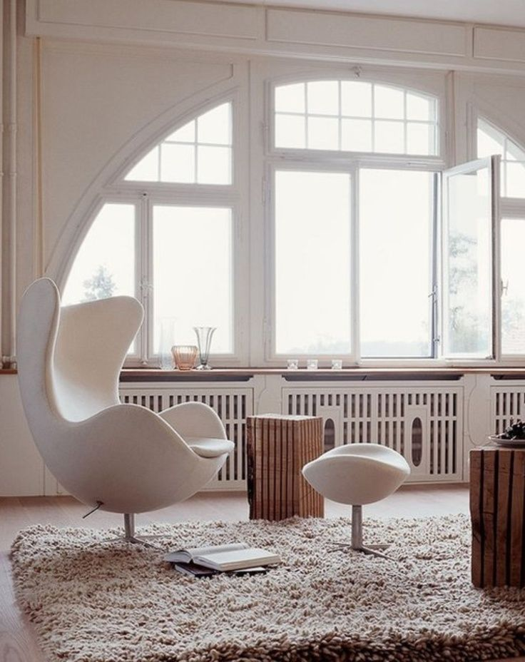 The elegant Egg chair, designed for the SAS Royal Hotel in Copenhagen