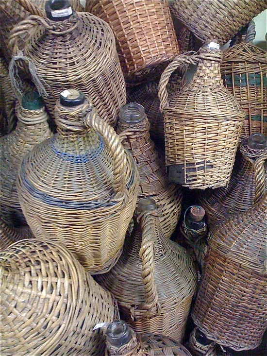 Vintage wicker bottles