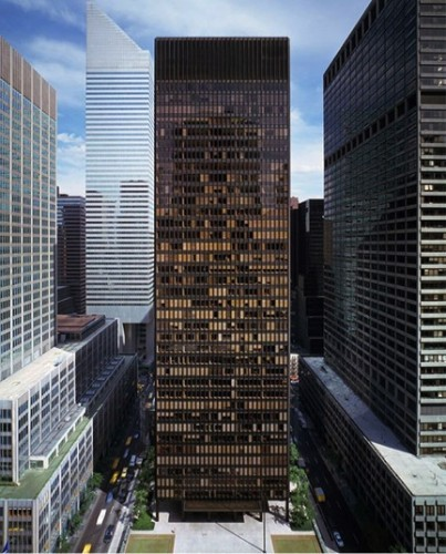 The Seagram Building, created for Canadian distillers Seagram and Sons on Fifth Avenue, NY. Completed in 1958 and now home to, amonst others, The Four Seasons restaurant