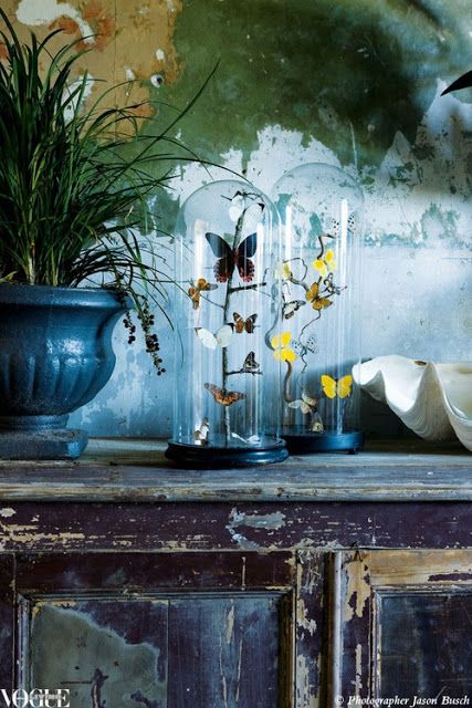 I love the colors in this beautiful blue vignette - via Vogue Living
