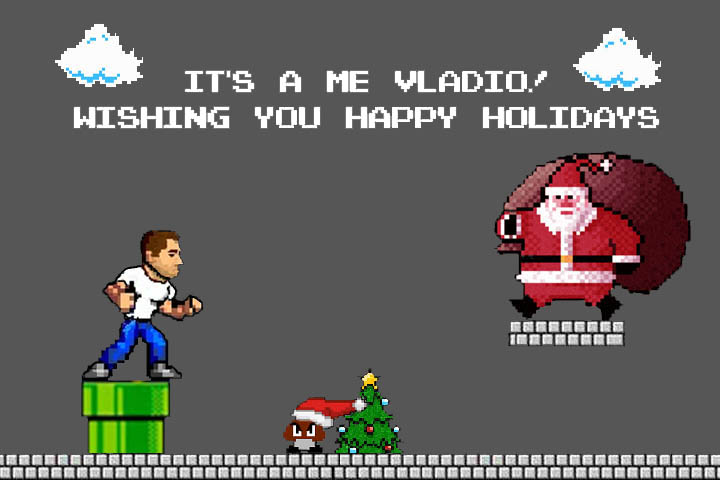 8 bit holiday card